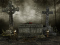 Dark cemetery with crosses tombstones and lanterns Royalty Free Stock Image