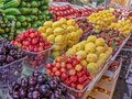 Dark cherries, cherries, apricots, strawberries and vegetables laid out on the counter of the farmers ` market Royalty Free Stock Photo