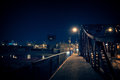 Dark Chicago city steel bridge at night. Surreal urban scene wit Royalty Free Stock Photo