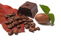 Dark chocolade chokolade and coffe bean Royalty Free Stock Photo