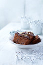 Dark chocolate cake for christmas on a plate Royalty Free Stock Photo