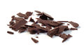 Dark chocolate chunks isolated on white closeup Stock Photo