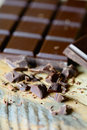 Dark chocolate close up with choco shavings Stock Images