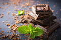 Dark chocolate with mint leaf Royalty Free Stock Photo