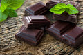 Dark chocolate pieces with a leaf of mint on wooden background Royalty Free Stock Photos