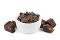 Dark chocolate shavings bowl chocolate pieces Stock Photography
