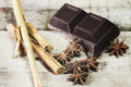 Dark chocolate with spices Royalty Free Stock Images