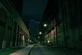 Dark City Street at Night Royalty Free Stock Photo