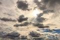 Dark cloud befor rainnig near sunset the moving to condense Stock Photo