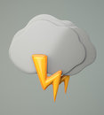 Dark cloud with lighting on grey background d illustration Stock Photography