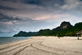 Dark cloud over beach and mountain white blue sea green at langkawi island malaysia Royalty Free Stock Photos