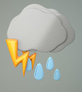 Dark cloud with raindrops and lighting on grey background d illustration Royalty Free Stock Photos