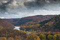 Dark clouds above the National Park in The Eifel, Germany. Royalty Free Stock Photo