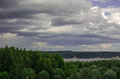 Dark clouds before rain kama river russia Royalty Free Stock Photo