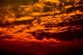 Dark clouds rainy storm sky sunset Royalty Free Stock Photo