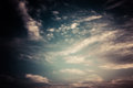 Dark cloudy sky surreal color toned image Stock Photos