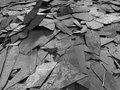 Dark concrete destruction surface with many chaotic broken piece