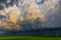 Dark cumulus clouds line of dramatic looking indicate a brewing storm Stock Images