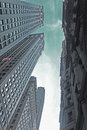 Dark days in wall street buildings metaphor for the for highrise at the financial district new york city usa Stock Photos