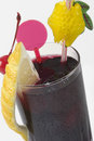 Dark drink with citron Royalty Free Stock Photo