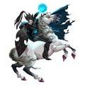 Dark Elf with armor riding horse
