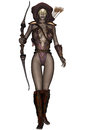 Dark elf d rendered warrior on white background isolated Royalty Free Stock Photography
