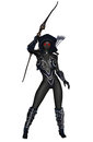 Dark elf d rendered warrior on white background isolated Stock Images