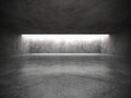 Dark empty room interior with old concrete walls and ceiling lig
