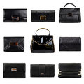 Dark female purses-2 Stock Photos