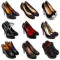 Dark female shoes-1 Royalty Free Stock Images