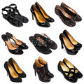 Dark female shoes-2 Royalty Free Stock Images