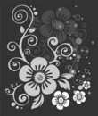 Dark flowers pattern Stock Image