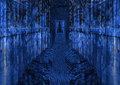 Dark Futuristic Path Leading to Dark Blue Door Royalty Free Stock Photo