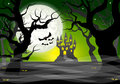 Dark ghostly forest and full moon Royalty Free Stock Photo