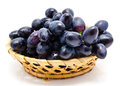 Dark grape in the basket isolated Royalty Free Stock Images