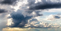 Dark gray dramatic sky with large clouds Royalty Free Stock Photography