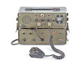 Dark green amateur ham radio on white background old Stock Photo