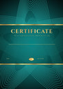 Dark green certificate diploma template of completion design background with star shape pattern gold border frame insignia for Stock Photography