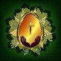 Dark green design with Easter egg