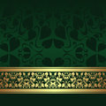 Dark green ornamental background with golden ribbon ribbonis presented Royalty Free Stock Photography