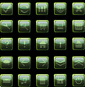 Dark green web icons, buttons Stock Image