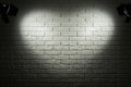 Dark and grey brick wall with heart shape light effect and shadow, abstract background photo, lighting equipment Royalty Free Stock Photo