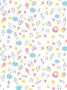 Cute Hand Drawn Sweets Vectorn Pattern. Candies, Ice Creams, Muffins, Donuts. White Background. Pink Hearts and Yellow Stars. Infa