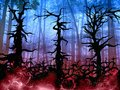 Dark halloween woods background with twisted trees