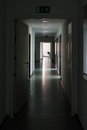 Dark Hallway Light at End Highlight Silence Mysterious Office Da Royalty Free Stock Photo