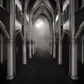 Dark hallway with a moon gothic at night Stock Image
