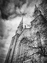 Dark imposing and ominous church image a grungy gothic front with an sky Royalty Free Stock Image