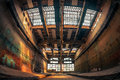 Dark industrial interior of a building an old Royalty Free Stock Photo