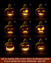 Dark Jack O Lantern Cartoon - 9 Vampire Expressions Set Royalty Free Stock Photo