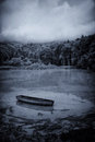 Dark Lake and Boat Royalty Free Stock Photo